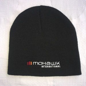 Mohawk All Black Basic Embroidered Logo Beanie